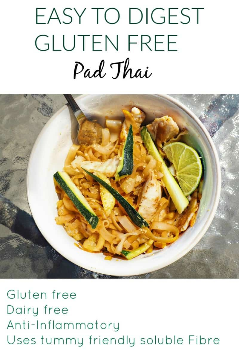 This gluten-free pad thai recipe is easy to digest and is also dairy-free