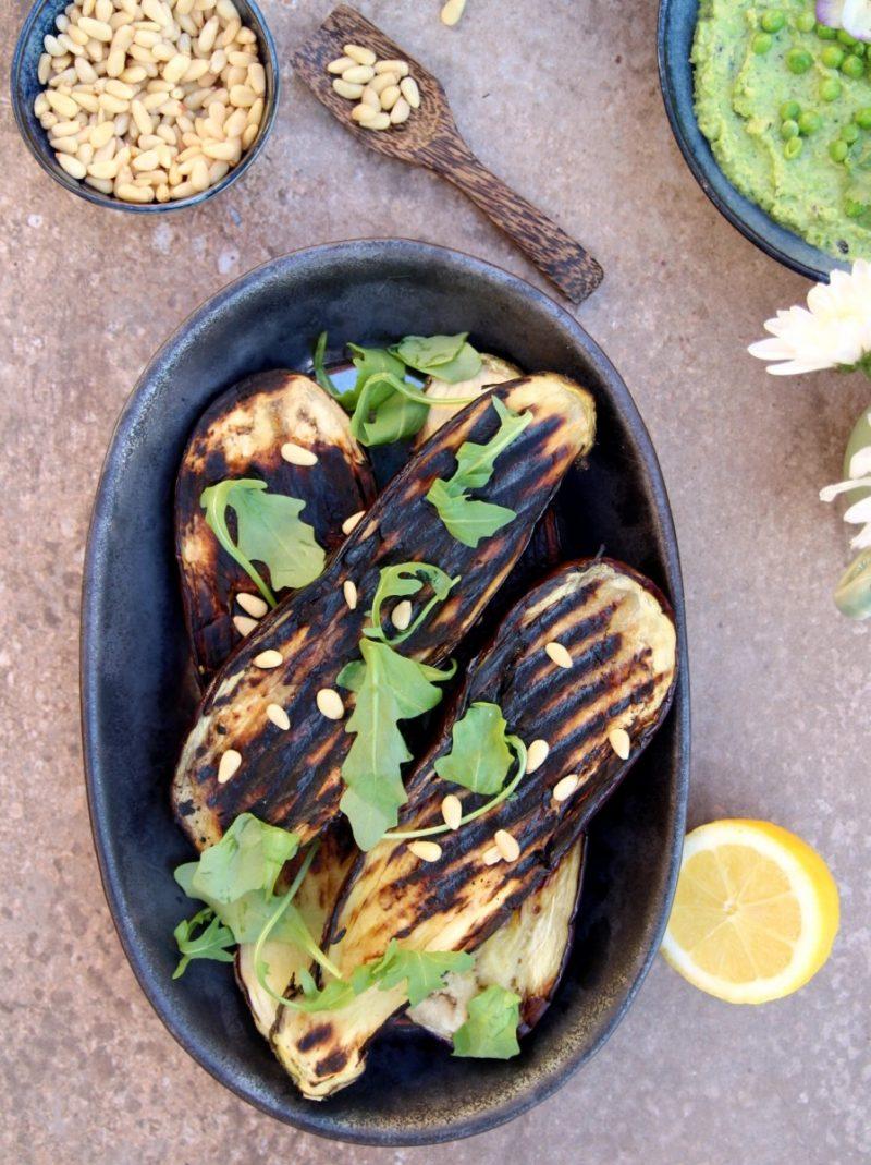 Recipe: Roast Aubergine with Rainbow Slaw+Avocado Hummus (GF